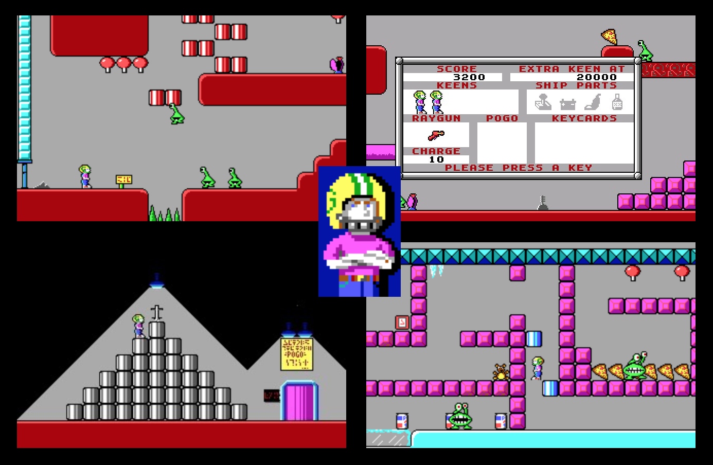 Various screenshots from Commander Keen 1